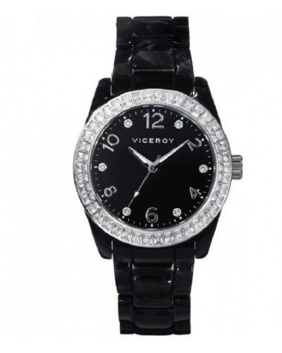 Reloj Viceroy señora con caja y brazalete de acetato negro. - 47798-55