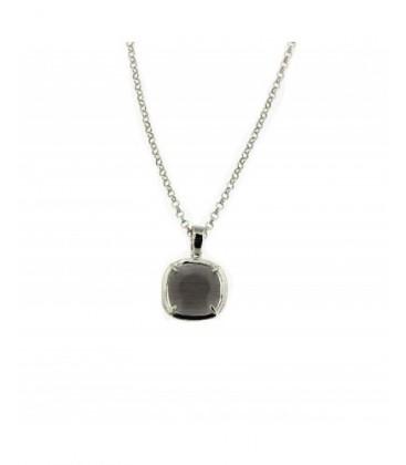 Penjoll de plata rodiada cristall gris. - PERS008CG