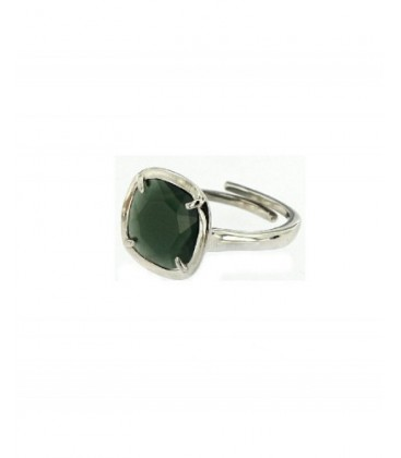 Anell plata rodiada cristall verd fosc. - ANRS008CP