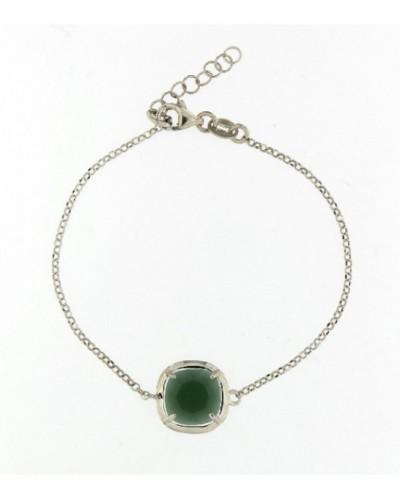 Pulsera plata rodiada cristal verde oscuro. - PURS008CP