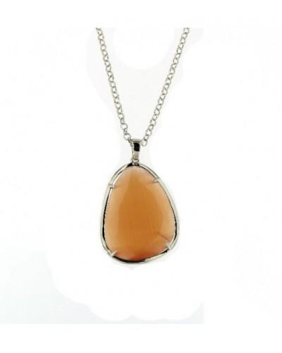 Colgante de plata rodiada cristal naranja. - PERS008OC