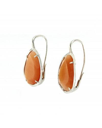 Pendientes plata rodiada cristal naranja. - ARRS008GOC