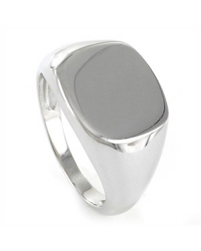 Sello de plata liso forma cuadrada. - 9107481