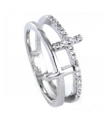 Anillo plata doble cruz lisa y circonitas. - 9092465