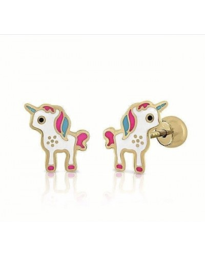 Arrecades d´or 18k de nena d´unicorn. - LPO 12900