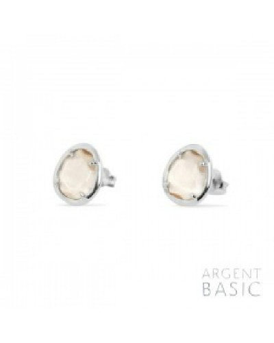 Pendientes de plata de cristal beige. - ARRS002B