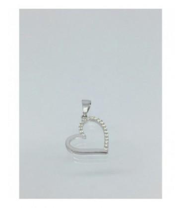 Colgante de oro blanco corazón. - P005713582