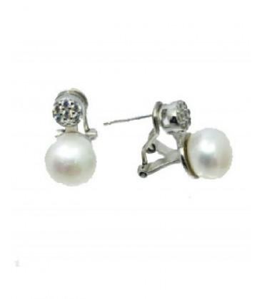 Pendientes de plata tu y yo perla y circonita. - 30129