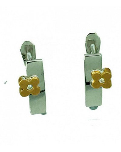 Pendientes de oro blanco y rosa con brillante. - BR1587P