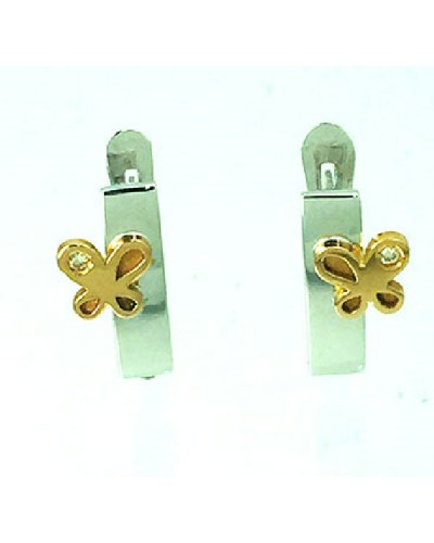 Pendientes de oro blanco y rosa con brillante. - BR1688P