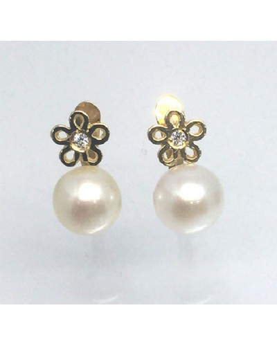 Pendientes de oro con perla. - P016200285