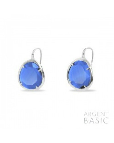 Pendientes plata cristal azul. - ARRS003GM