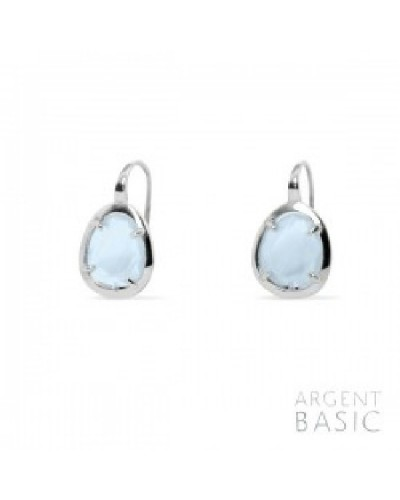 Pendientes plata cristal azul agua. - ARRS003PA