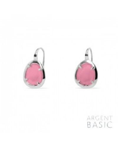 Pendientes plata cristal fucsia. - ARRS003PF