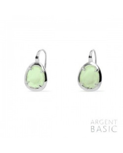 Pendientes de plata cristal verde. - ARRS003PG