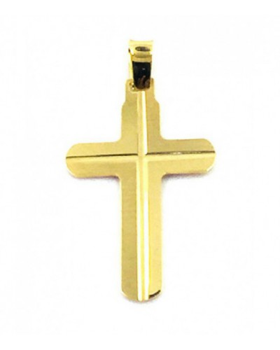 Cruz de oro plana mate y brillo. - 920018-35